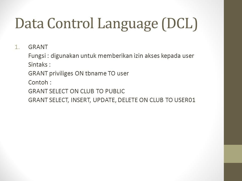 Data Control Language (DCL)