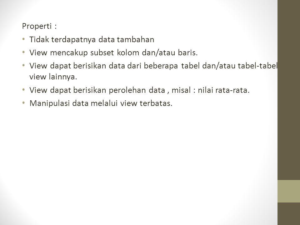 Properti : Tidak terdapatnya data tambahan. View mencakup subset kolom dan/atau baris.