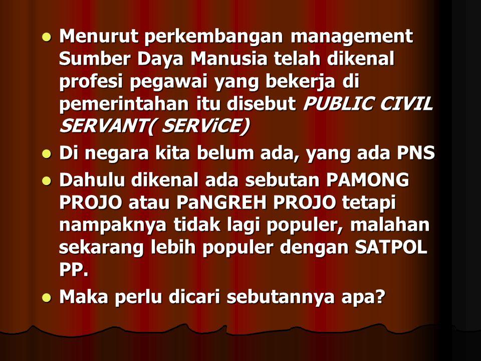 Menurut perkembangan management Sumber Daya Manusia telah dikenal profesi pegawai yang bekerja di pemerintahan itu disebut PUBLIC CIVIL SERVANT( SERViCE)