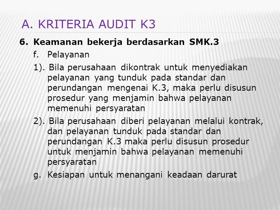 A. KRITERIA AUDIT K3 Keamanan bekerja berdasarkan SMK.3 Pelayanan