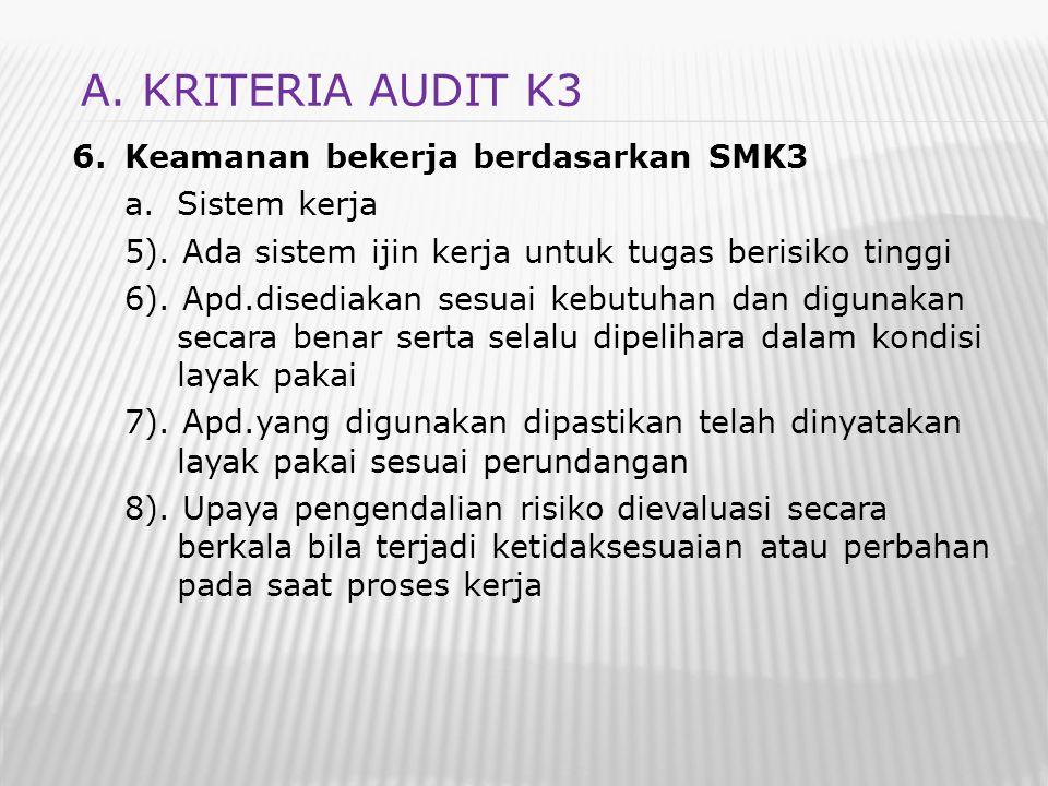 A. KRITERIA AUDIT K3 Keamanan bekerja berdasarkan SMK3 Sistem kerja