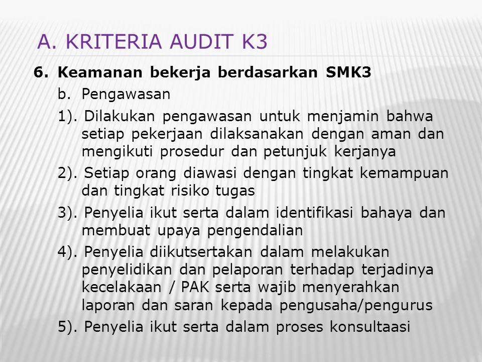 A. KRITERIA AUDIT K3 Keamanan bekerja berdasarkan SMK3 Pengawasan