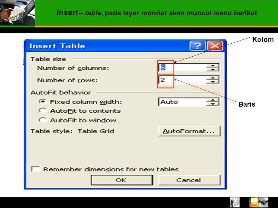 Insert – table, pada layar monitor akan muncul menu berikut