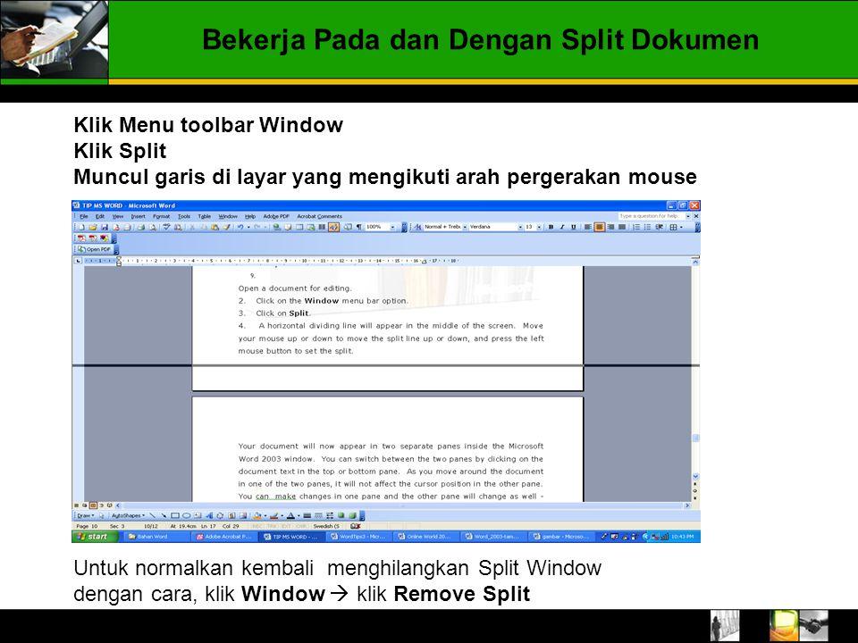 Bekerja Pada dan Dengan Split Dokumen