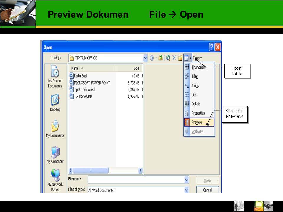 Preview Dokumen File  Open Icon Table Klik Icon Preview