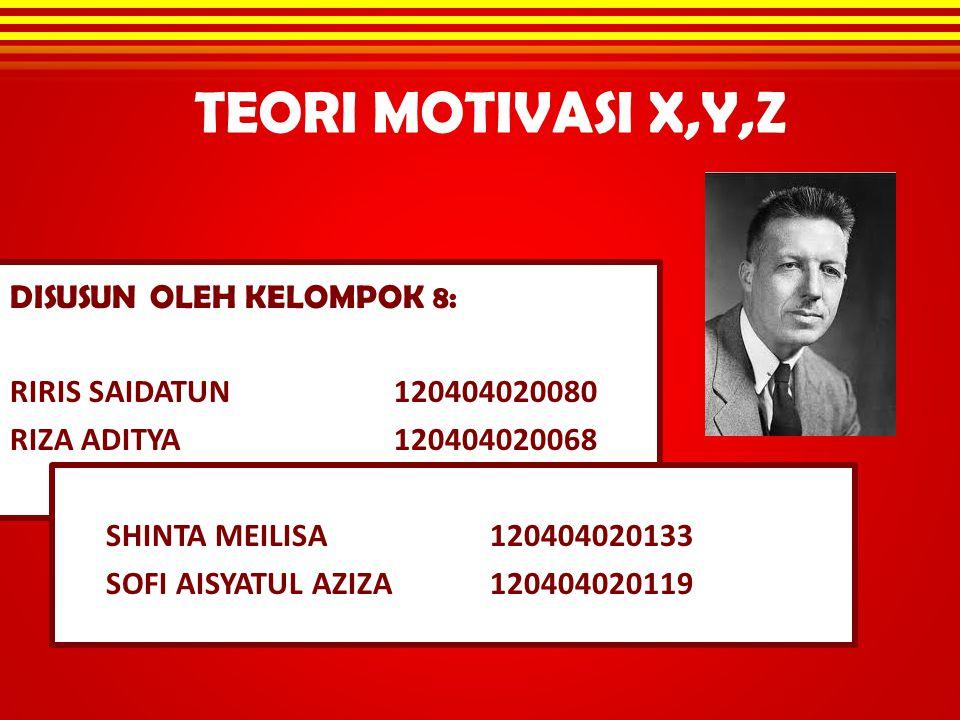 TEORI MOTIVASI X,Y,Z DISUSUN OLEH KELOMPOK 8: