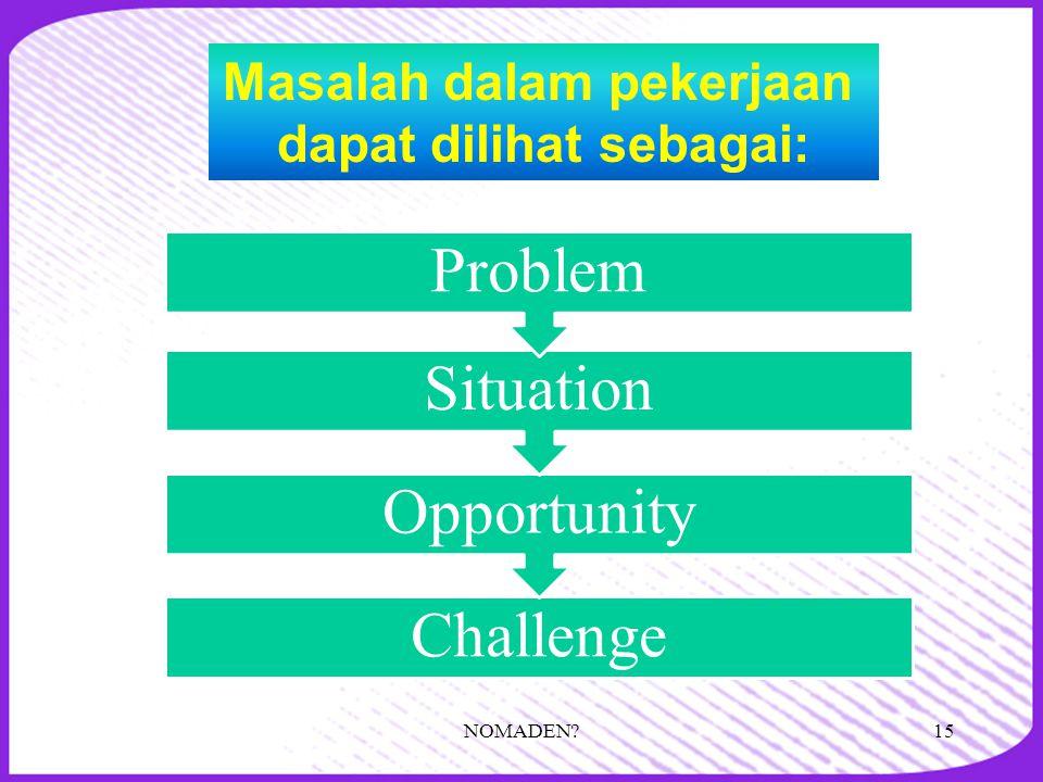 Masalah dalam pekerjaan dapat dilihat sebagai: