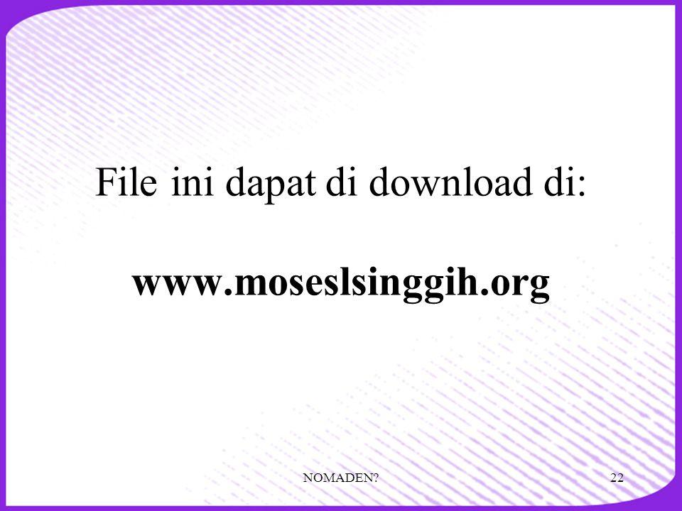 File ini dapat di download di: www.moseslsinggih.org