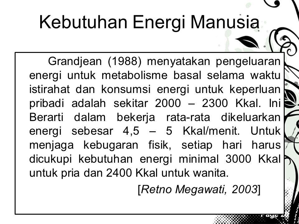 Kebutuhan Energi Manusia