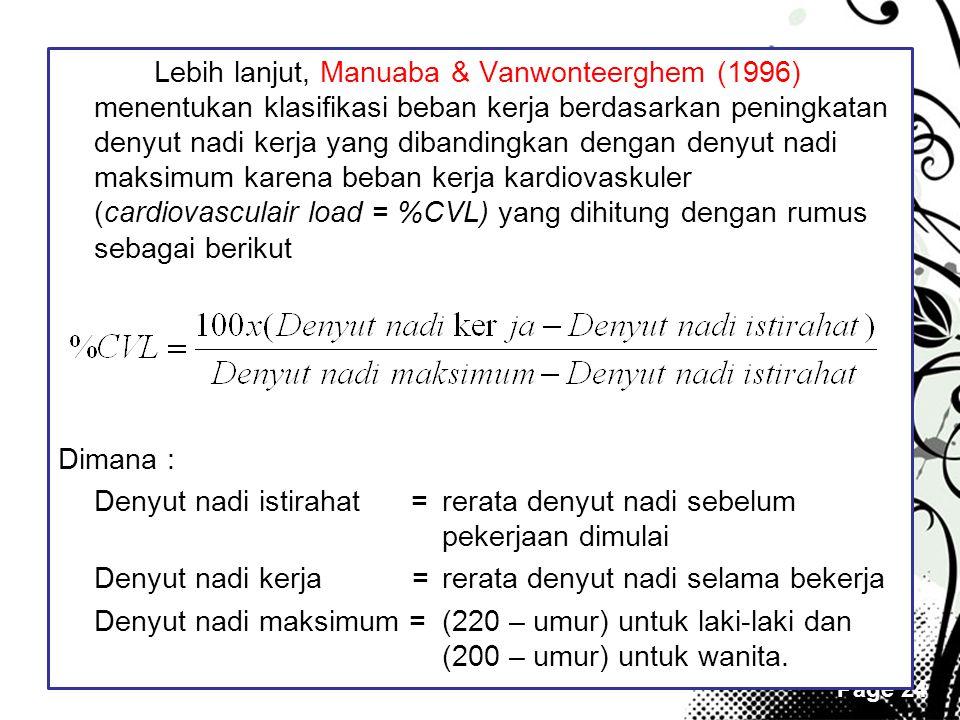 Lebih lanjut, Manuaba & Vanwonteerghem (1996) menentukan klasifikasi beban kerja berdasarkan peningkatan denyut nadi kerja yang dibandingkan dengan denyut nadi maksimum karena beban kerja kardiovaskuler (cardiovasculair load = %CVL) yang dihitung dengan rumus sebagai berikut