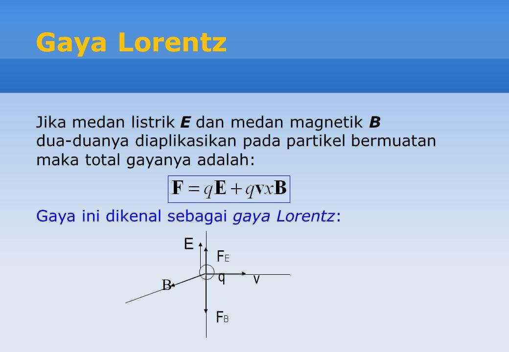 Gaya Lorentz Jika medan listrik E dan medan magnetik B dua-duanya diaplikasikan pada partikel bermuatan maka total gayanya adalah: