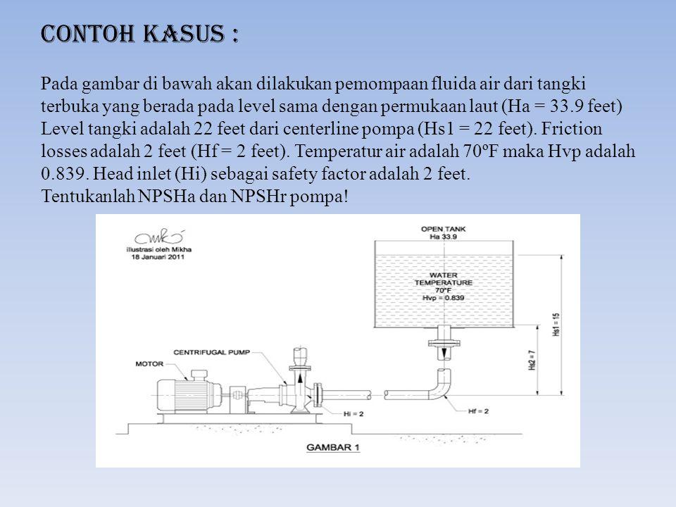 Contoh Kasus : Pada gambar di bawah akan dilakukan pemompaan fluida air dari tangki terbuka yang berada pada level sama dengan permukaan laut (Ha = 33.9 feet) Level tangki adalah 22 feet dari centerline pompa (Hs1 = 22 feet).
