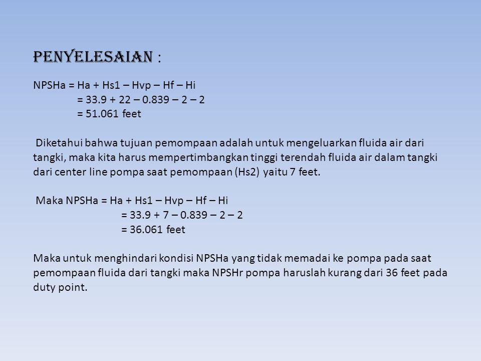 Penyelesaian : NPSHa = Ha + Hs1 – Hvp – Hf – Hi = 33. 9 + 22 – 0