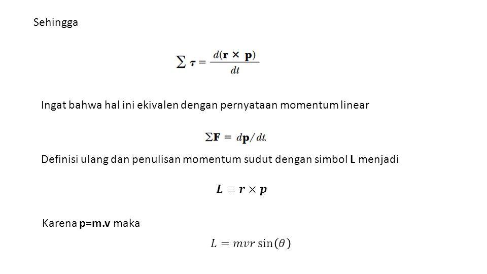 Sehingga Ingat bahwa hal ini ekivalen dengan pernyataan momentum linear. Definisi ulang dan penulisan momentum sudut dengan simbol L menjadi.
