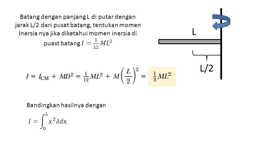 Batang dengan panjang L di putar dengan jarak L/2 dari pusat batang, tentukan momen Inersia nya jika diketahui momen inersia di puast batang 𝐼= 1 12 𝑀 𝐿 2