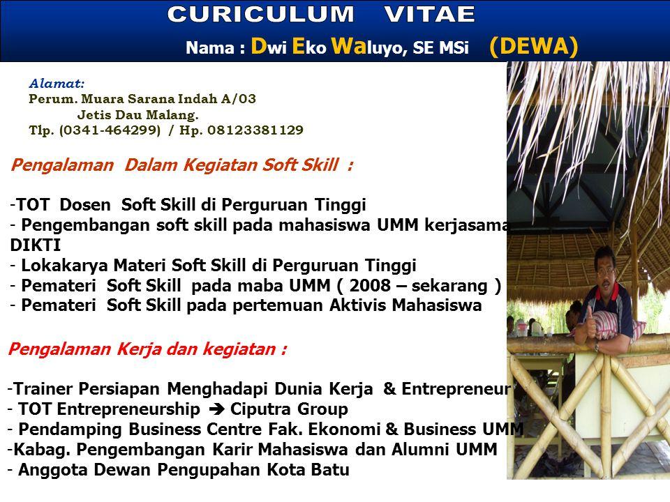 CURICULUM VITAE Nama : Dwi Eko Waluyo, SE MSi (DEWA)