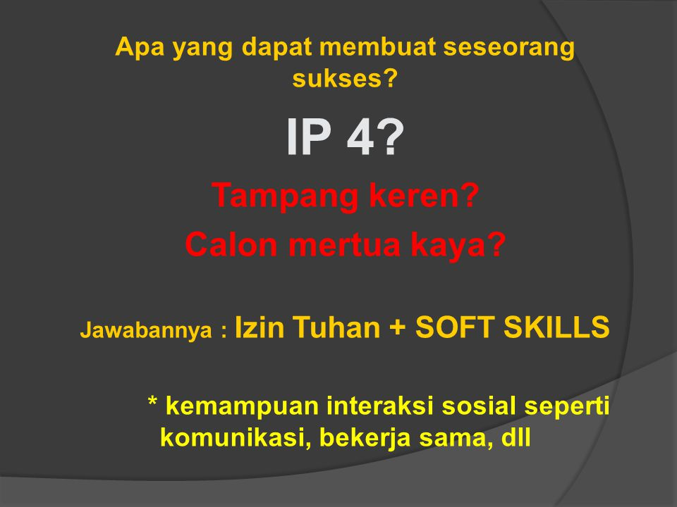 IP 4 Tampang keren Calon mertua kaya