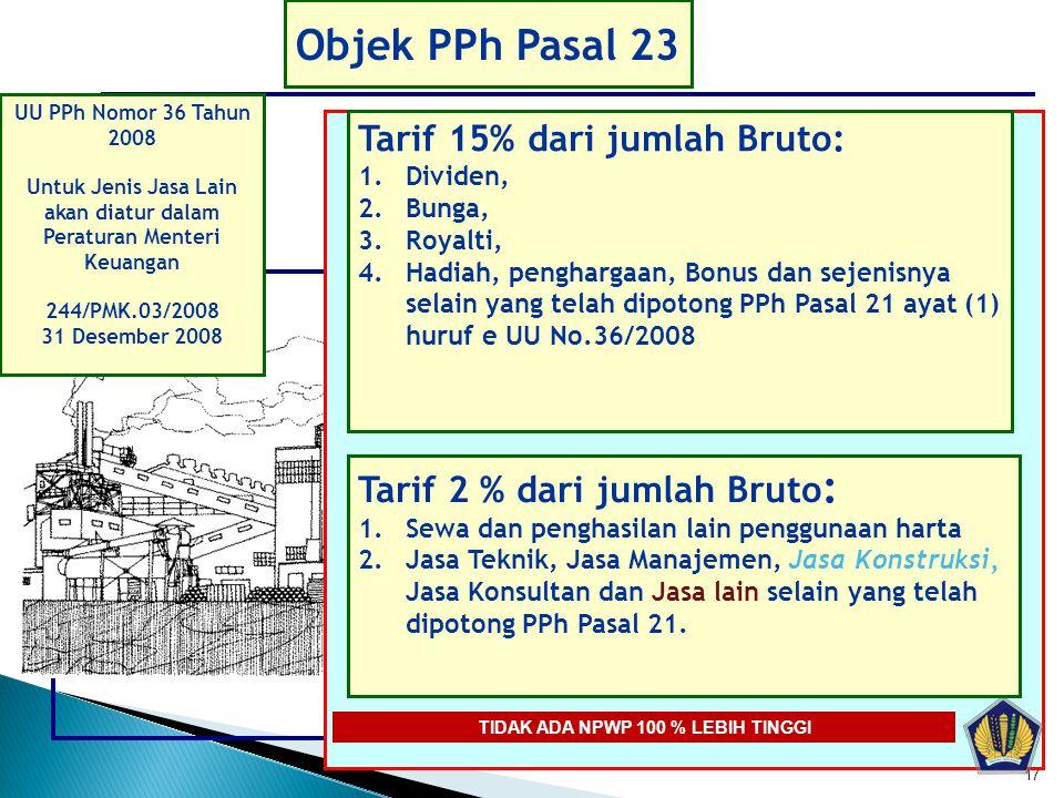 Objek PPh Pasal 23 Tarif 15% dari jumlah Bruto: