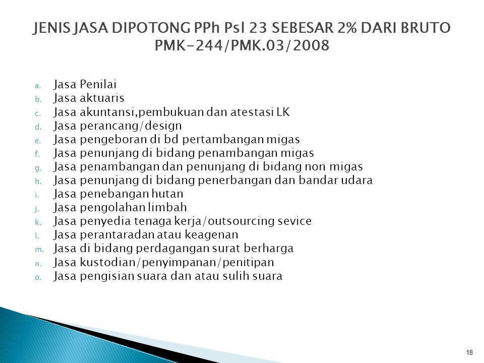 JENIS JASA DIPOTONG PPh Psl 23 SEBESAR 2% DARI BRUTO PMK-244/PMK