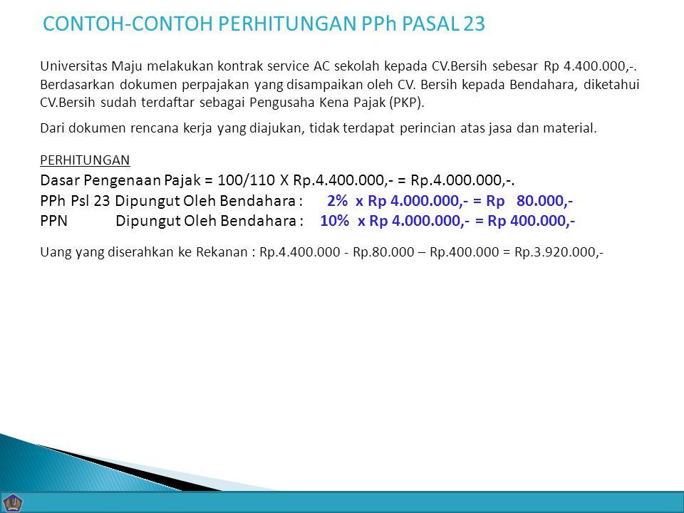 CONTOH-CONTOH PERHITUNGAN PPh PASAL 23
