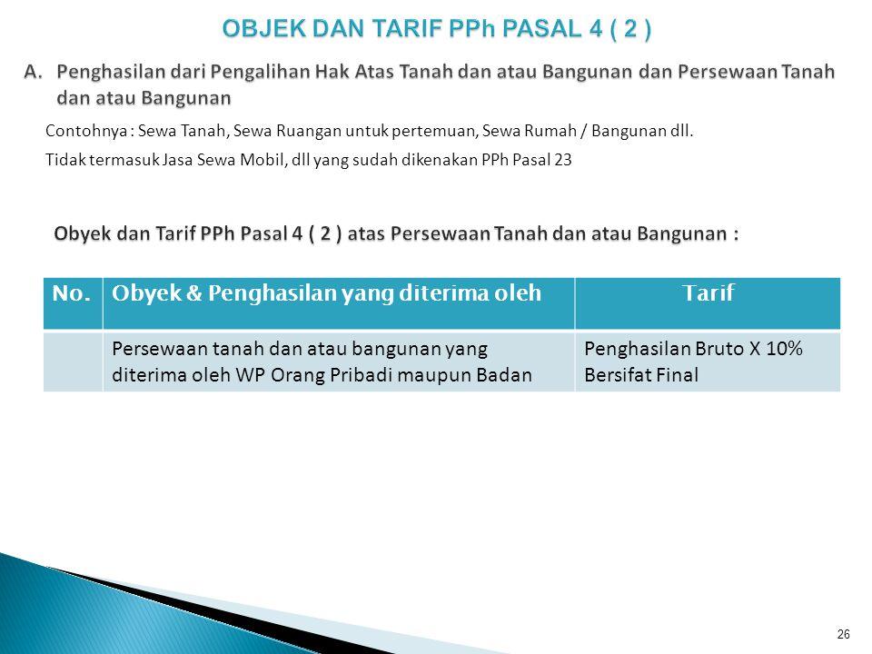 OBJEK DAN TARIF PPh PASAL 4 ( 2 )