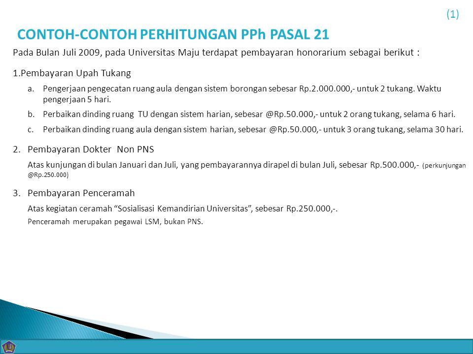 CONTOH-CONTOH PERHITUNGAN PPh PASAL 21