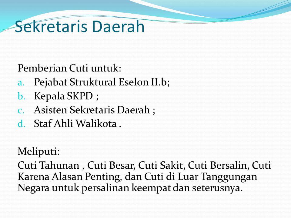 Sekretaris Daerah Pemberian Cuti untuk: