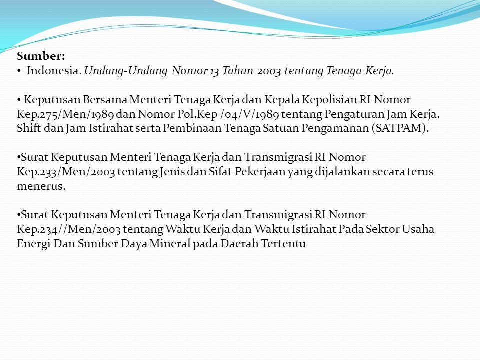 Sumber: Indonesia. Undang-Undang Nomor 13 Tahun 2003 tentang Tenaga Kerja.