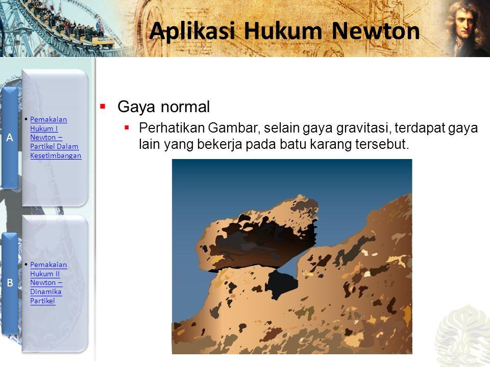 Gaya normal Perhatikan Gambar, selain gaya gravitasi, terdapat gaya lain yang bekerja pada batu karang tersebut.