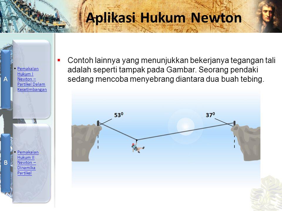 Contoh lainnya yang menunjukkan bekerjanya tegangan tali adalah seperti tampak pada Gambar.