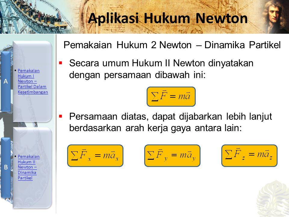 Pemakaian Hukum 2 Newton – Dinamika Partikel
