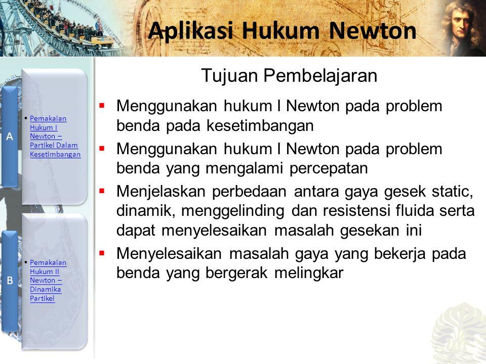 Tujuan Pembelajaran Menggunakan hukum I Newton pada problem benda pada kesetimbangan.