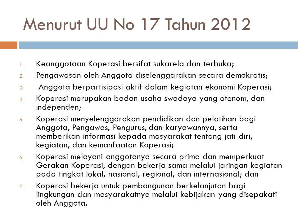 Menurut UU No 17 Tahun 2012 Keanggotaan Koperasi bersifat sukarela dan terbuka; Pengawasan oleh Anggota diselenggarakan secara demokratis;