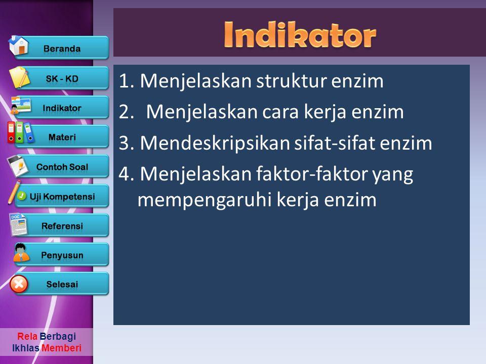Indikator 1. Menjelaskan struktur enzim Menjelaskan cara kerja enzim
