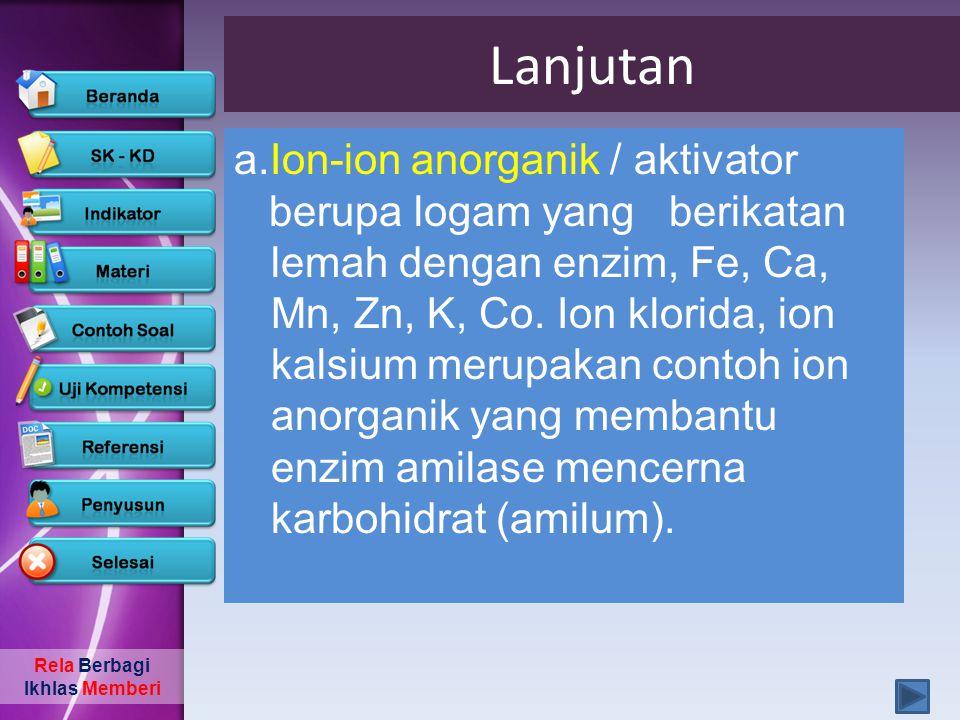 Lanjutan a.Ion-ion anorganik / aktivator
