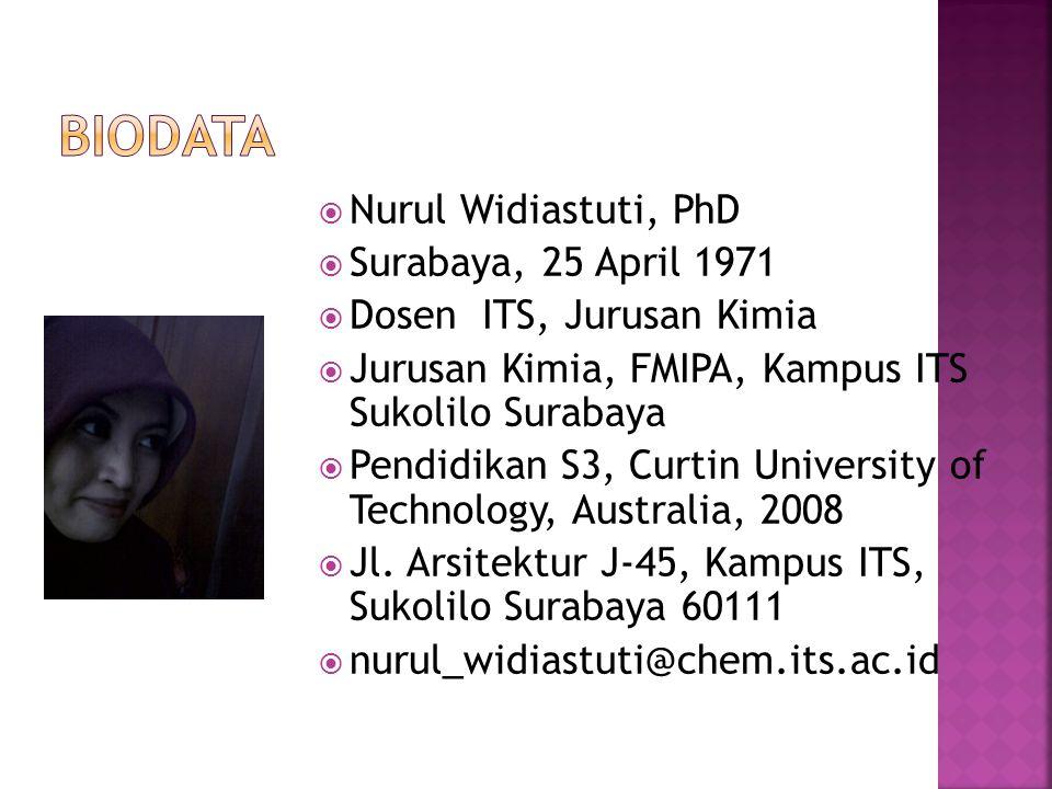 Biodata Nurul Widiastuti, PhD Surabaya, 25 April 1971