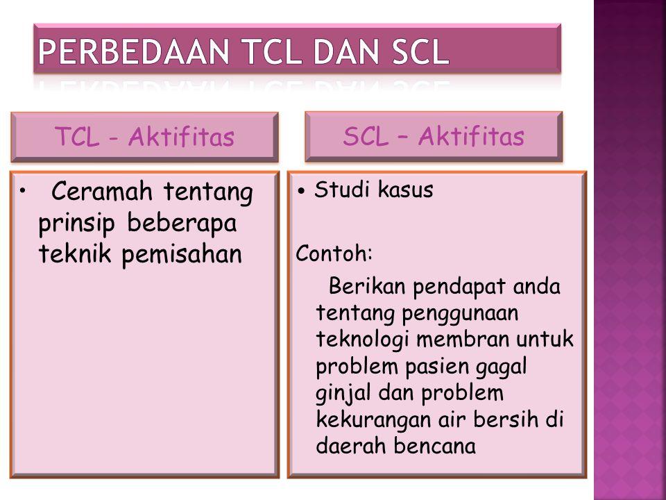 Perbedaan TCL dan SCL TCL - Aktifitas SCL – Aktifitas