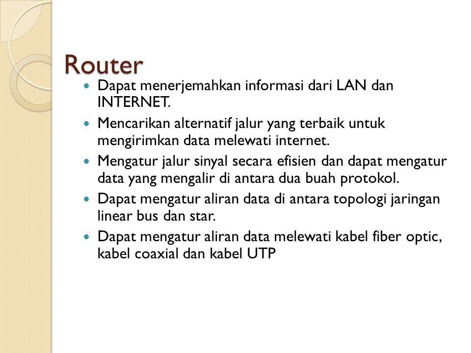 Router Dapat menerjemahkan informasi dari LAN dan INTERNET.