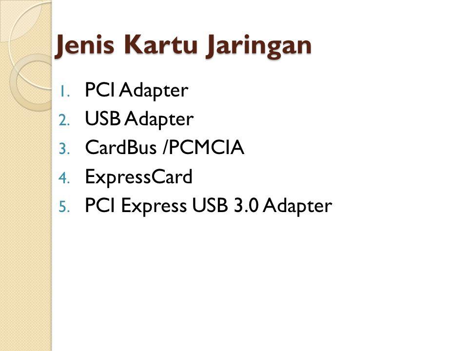 Jenis Kartu Jaringan PCI Adapter USB Adapter CardBus /PCMCIA