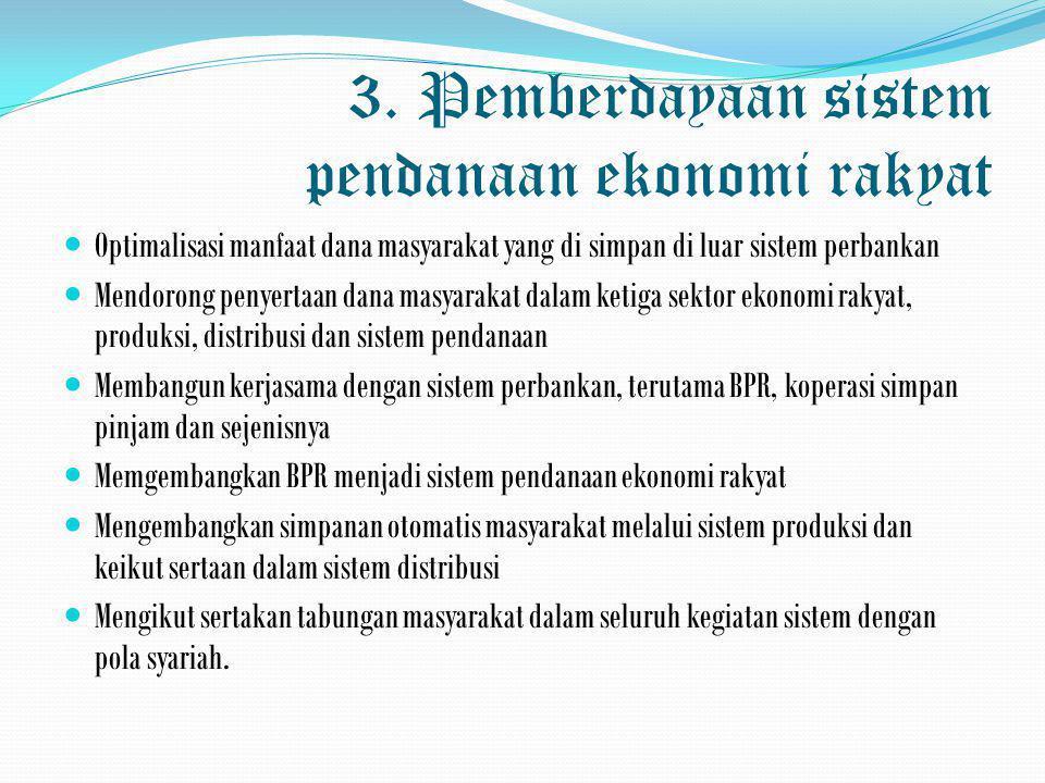 3. Pemberdayaan sistem pendanaan ekonomi rakyat