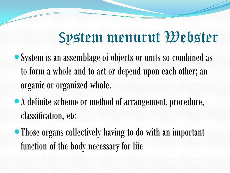 System menurut Webster