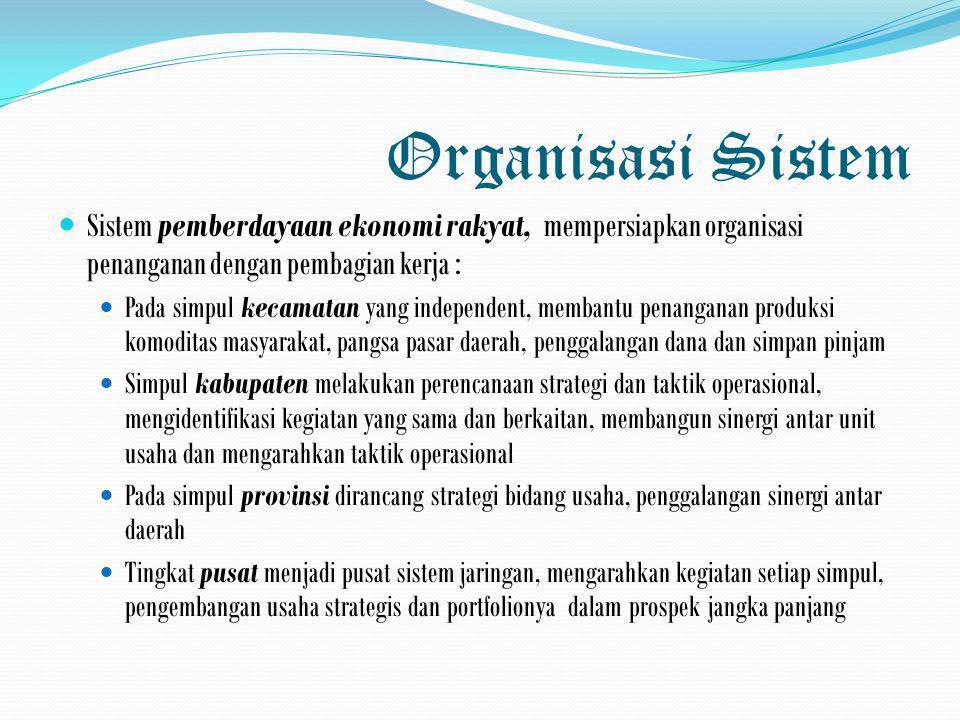 Organisasi Sistem Sistem pemberdayaan ekonomi rakyat, mempersiapkan organisasi penanganan dengan pembagian kerja :