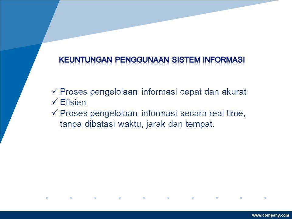 Proses pengelolaan informasi cepat dan akurat Efisien