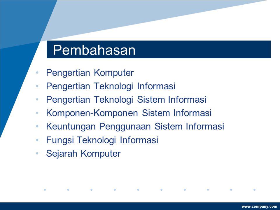 Pembahasan Pengertian Komputer Pengertian Teknologi Informasi
