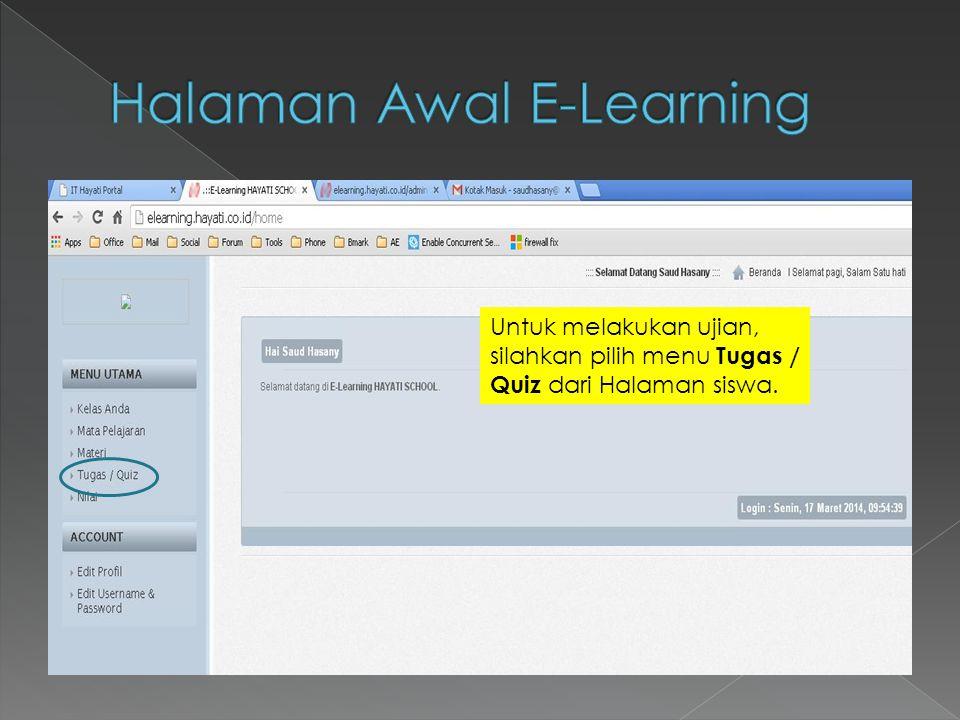 Halaman Awal E-Learning