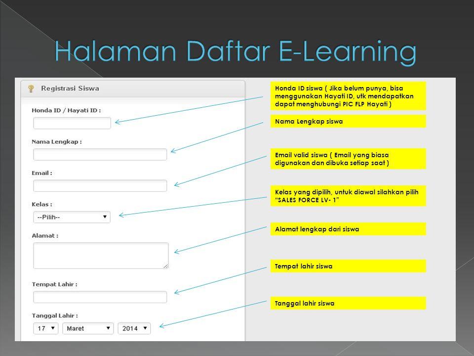Halaman Daftar E-Learning