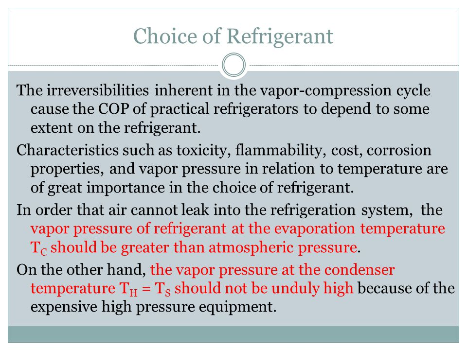 Choice of Refrigerant