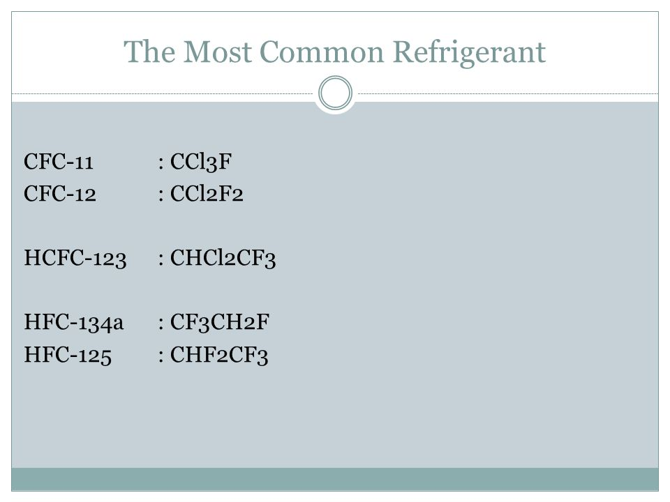 The Most Common Refrigerant