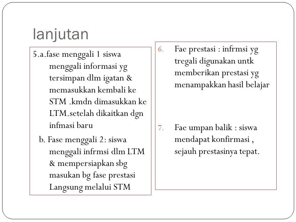 lanjutan Fae prestasi : infrmsi yg tregali digunakan untk memberikan prestasi yg menampakkan hasil belajar.