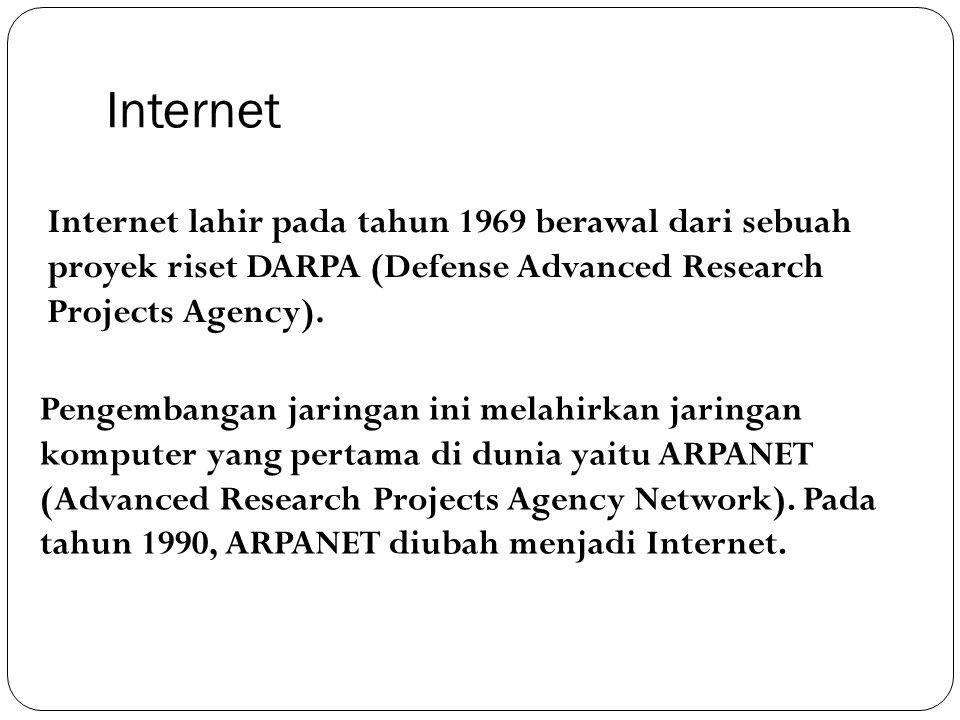 Internet Internet lahir pada tahun 1969 berawal dari sebuah proyek riset DARPA (Defense Advanced Research Projects Agency).